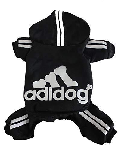 - Rdc Pet Adidog Dog Hoodies, Clothes,Fleece Basic Hoodie Warm Sweater,4 Legs Cotton Jacket Sweat Shirt Coat for Small Dog Medium Dog Cat (L, Black)