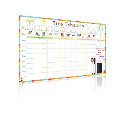 UCMD Time Schedule Calendar Hold Magnets - Kids Chore Chart for Wall- 23.6