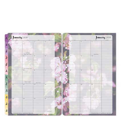 Classic Blooms Two Page Monthly Ring-bound Tabs - Jan 2018 - Dec 2018