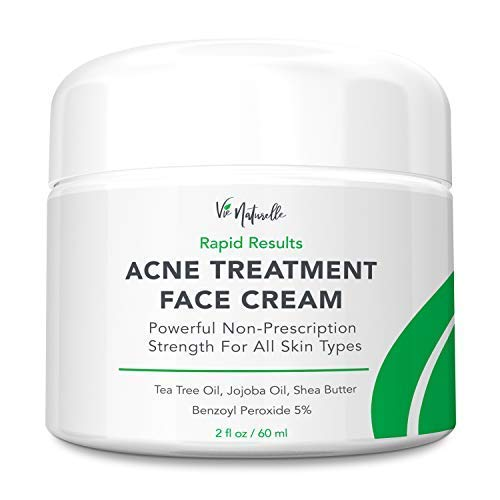 Acne Treatment Cream - Benzoyl Peroxide 5% - (2 oz) Topical Anti Pimple Medication for Cystic Acne Spot Treatment - Tea Tree Oil for Acne with Witch Hazel