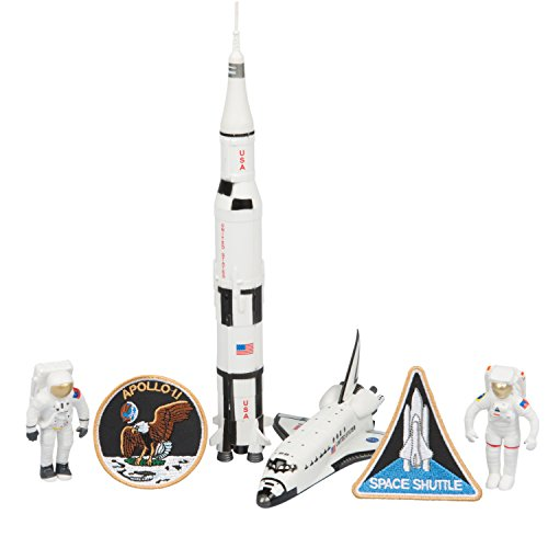 Apollo Space Rocket & Shuttle Adventure 6 Piece Space Toy Set - With Astronauts, Rockets and More! (Shuttle Space Rocket)