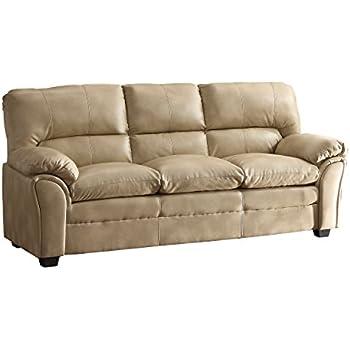 Homelegance Talon Contemporary Sofa Bonded Leather, Taupe