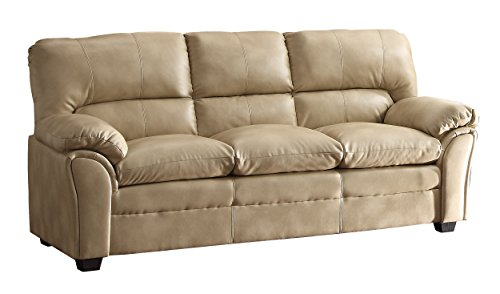 Taupe Leather Sofa Couch - 5