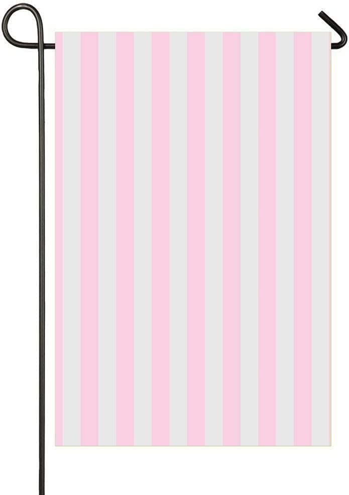 Bycocby Home Sweet Home Soft Baby Pink and Light Grey Vertical Circus Tent Stripes Garden Flag Vertical Double Sided Spring Yard Outdoor Decorative 12 x 18 Inch