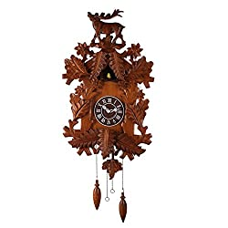 Deluxe 16-inch Carved Elk Cuckoo Clock, Home Decor, Specialty Quality, Quartz Timepieces - C00122