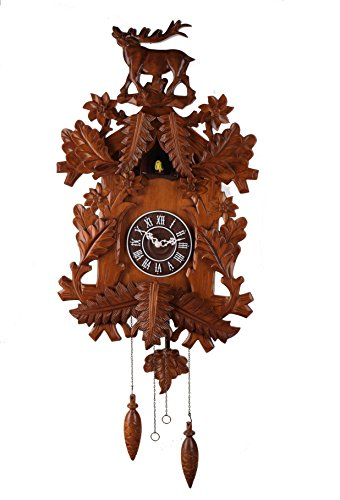 Deluxe 16-inch Carved Elk Cuckoo Clock, Home Decor, Specialty Quality, Quartz Timepieces - - Cuckoo Elk Clock