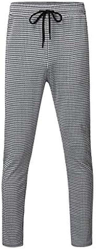 FIRMON-Jeans Męskie Sport Casual Slim Jogger Sweatpants Hose, Plaid Bodybuilding Flexible Taille Lange Hose Hose Gr. 31-35, Graue Hose: Odzież