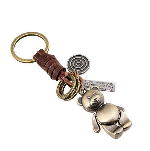 Creative Cute Detachable Handmade Bear Retro Alloy Weave Leather Car Key Chain Keychain for Women Men