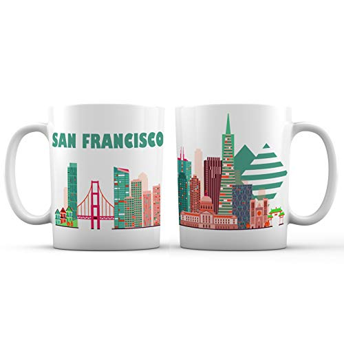 San Francisco Skyline View Souvenir Ceramic Coffee Mug - 11 oz. - Golden Gate, California Great Gift For Men, Women and Tourists