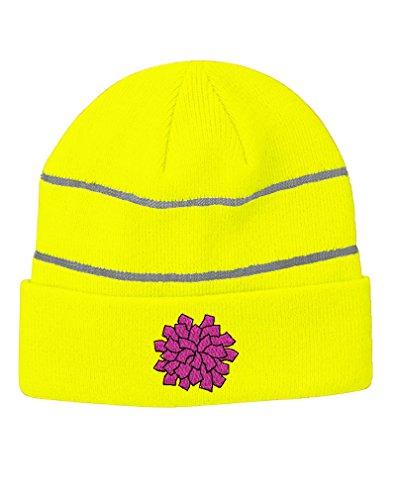 Pom-Pon Cheerleader Embroidery Design Acrylic Beanie Reflective Stripes Neon Yellow