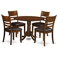 East West Furniture DLLY5-ESP-LC 5 Piece Set Dublin Dinette Table With Two Drop Leaf 9 And Four Leather Seat Kitchen Chairs In Espresso