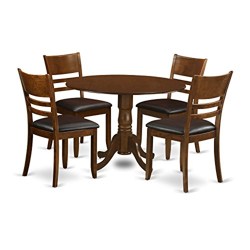 East West Furniture DLLY5-ESP-LC 5 Piece Set Dublin Dinette Table with Two Drop Leaf 9