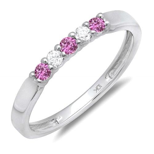 Dazzling Rock 10K White Gold Pink Sapphire And White Diam...