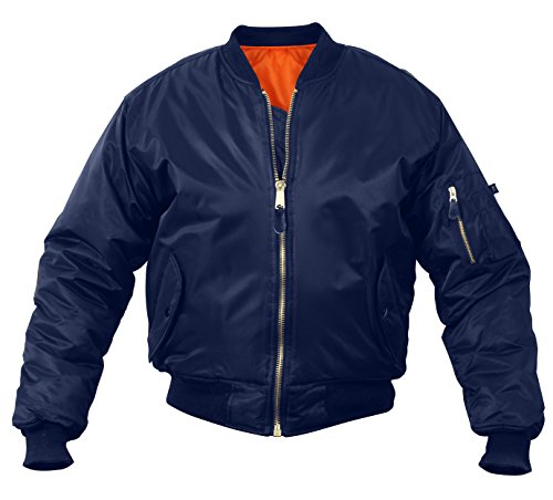 Rothco MA-1 Flight Jacket, XL, Navy Blue