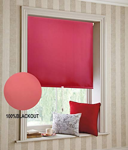 """BERYHOME Blackout Roller Window Shades – Window Blinds Cordless for Home, Bedroom, Office, Kid's Room, Hotel, Kitchen, Window Treatment, Cristal (W37""""xH68"""", Red)"""