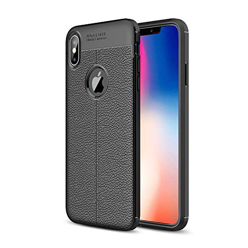 Zoint Auto Focus Litchi Pattern Soft Case for Apple iPhone Xs Max Shockproof Leather Pattern Soft TPU Case Cover