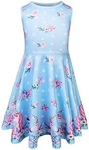 WOW Girls Summer Dress Casual Sleeveless Dresses Sundress for Toddler Kids Printed
