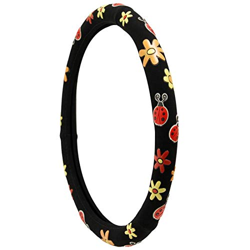 2006 Toyota Tundra Bug - Motorup America Suede Rubber Steering Wheel Cover - Fits Select Vehicles Car Truck Van SUV - Flower & Lady Bug