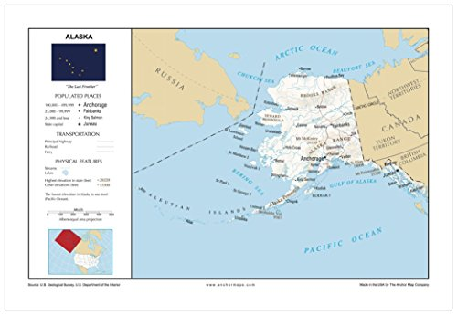 13x19 Alaska General Reference Wall Map - Anchor Maps USA Foundational Series - Cities, Roads, Physical Features, and Topography [ROLLED]