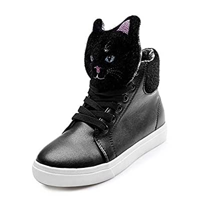PP FASHION Women's Cat Tassels Platform Casual Sneakers Students Hidden Heel Shoes black 5