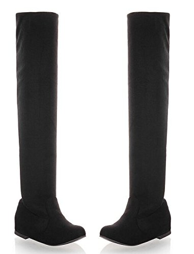 Frauen Stiefel 2014 Herbst-Winter-Damenmode Flachboden Stiefel Schuhe Overknee Overknee-Stiefel aus Wildleder Lang Schwarz