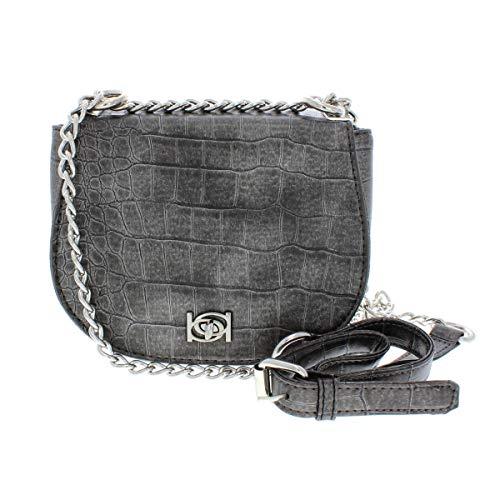 Bebe Womens Michelle Evening Chain Crossbody Handbag Gray Small ()