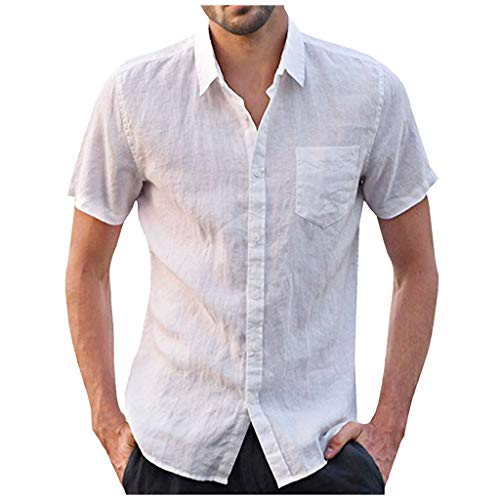 Mote Mens Clothes, MensBaggy Cotton Linen Solid Short Sleeve Button Retro T Shirts Tops Blouse T-Shirt White ()