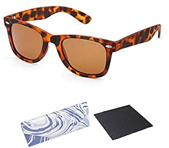 EVEE Unisex Horn-Rimmed Iconic RUBBERIZED TORTOISE UNISEX SQUARE POLARIZED SUNGLASSES + EVEE LIMITED EDITION CASE + MICROFIBER CLEANING CLOTH (E-ICPPMTBR) (Tortoise, Brown)