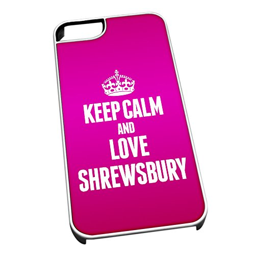 Bianco cover per iPhone 5/5S 0575 Pink Keep Calm and Love Shrewsbury