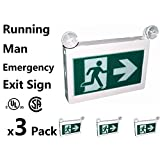 3 Packs, Running Man Exit Sign CET-180 CET-100 Thermoplastic Sign Combo Emergency Light LED with 2 Heads Left Right Battery Backup for 90 Minutes 120v 347v Universal mounting (3)