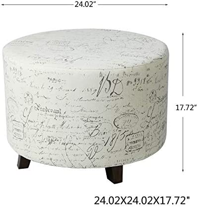 Adeco Fabric Script Pattern Round Foot Rest and Seat