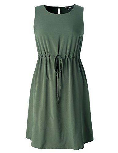 Chicwe Women's Plus Size Stretch Dress - Japanese GoWeave Light Drawstring Dress Olive Green 1X -