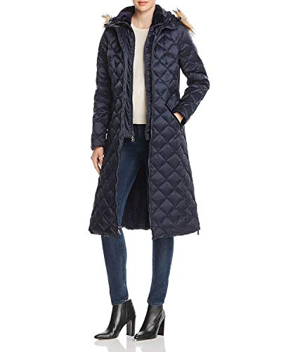 Coat Laundry Quilted (Laundry by Shelli Segal Diamond-Quilted Maxi Puffer Coat,Navy (Medium))