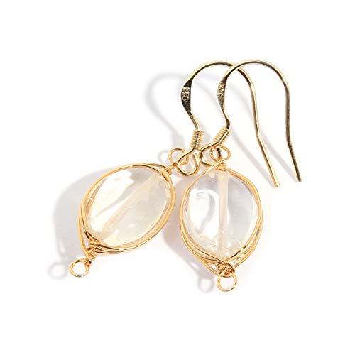 (Scutum Craft Natural Stone Wire Wrap Dangle Drop Earrings Gold Plated 925 Sterling Silver Hook Jewelry for Women, (rutilated-Quartz Round 10mm))