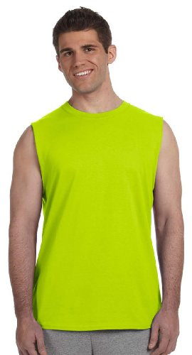 (Gildan Ultra Cotton 6 oz. Sleeveless T-Shirt, Medium, SAFETY GREEN)