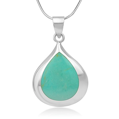 925 Sterling Silver Inlay Natural Shell, Stone, Coral Teardrop Pendant Necklace, 18 Chain