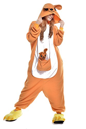 Kangaroo Unisex Halloween Cosplay Costume One-Piece Pajamas Outfit Homewear Carnival (S fits 57-63