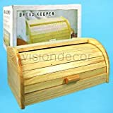 Natural Wood Roll Top Bread Keeper Box Breadbox