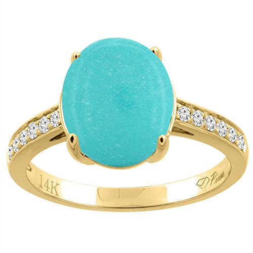 14K Yellow Gold Natural Turquoise Ring Oval 11x9 mm Diamond Accents, size 6 (14k Yellow Gold Turquoise Ring)
