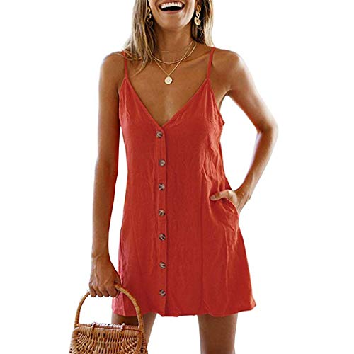 COOKI Women Dresses Vintage Button Down Pockets Mini Dress Summer Sleeveless V-Neck Short T-Shirt Dress Tunic Dress Red