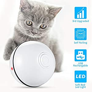 Sufadu Cat Toys Rechargeable Ball,Interactive Wicked Rolling Toy,Newest Upgraded,Cat Entertainment Exercise Ball, for Kitten Kitty Only