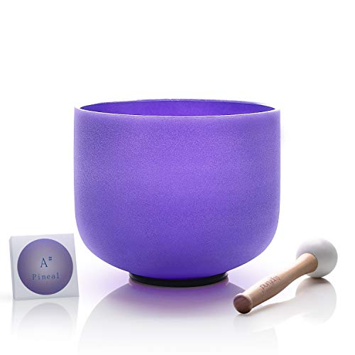 TOPFUND Crystal Singing Bowl Violet Color A# Note Pineal Chakra 8 inch,O-Ring and Rubber Mallet Included ()