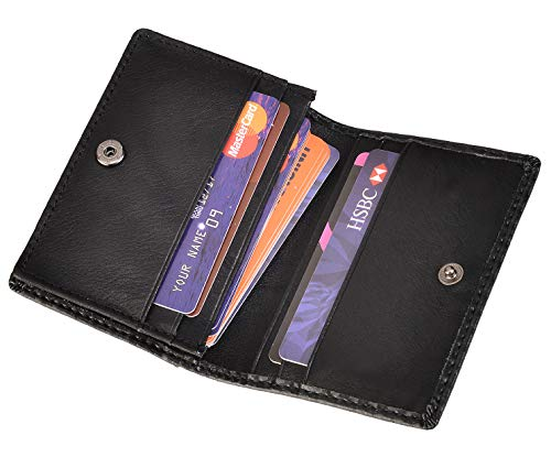 RFID Mens Slim Front Pocket Wallet Genuine Leather Bifold ID/Credit Card Holder (Carbon Fiber Leather Black)