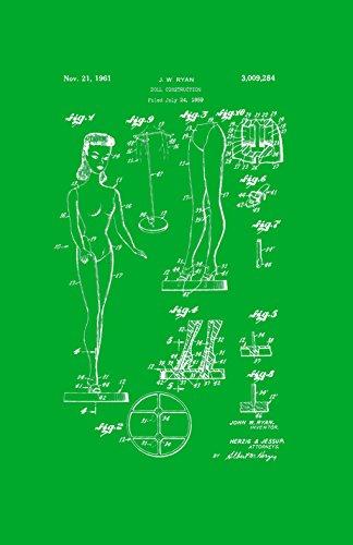 Póster con diseño de patente enmarcada de Décor Barbie Doll Classic Retro Girls de 28 x 43 cm, color verde PAPSSP57G