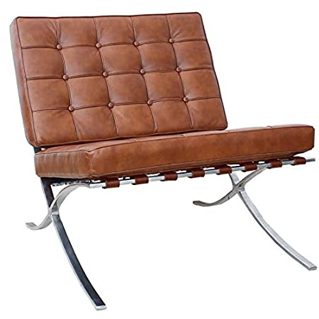 Barcelona Chair In Cognac Semi Aniline Leather With Steel Frame