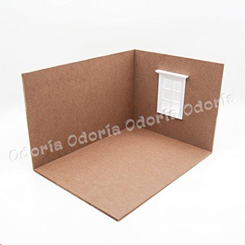 Dollhouse Miniature Scene (Odoria 1:12 Miniature Dollhouse Display Scene Box Open Room and W Window Board Dollhouse Furniture Accessories)