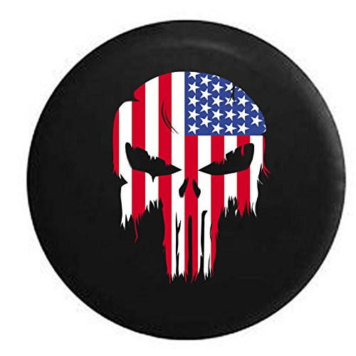 (Tattered American Flag Punisher Skull Spare Tire Cover Black 33 in)