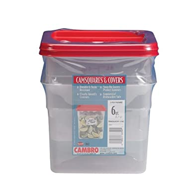 Cambro 6 Quart Translucent Square Food Storage Containers and Covers, 2 pack