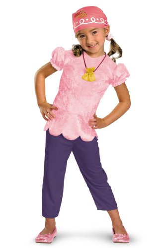 Kids Pink Pirate Costumes (Disguise Girls Disney Jake and the Never Land Pirates Izzy Classic Kids Costume Pink, Large(4/6x))