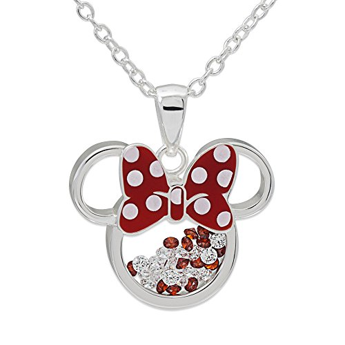 Disney Minnie Mouse Silver Plated Floating Crystals Pendant w/Chain Jewelry ()